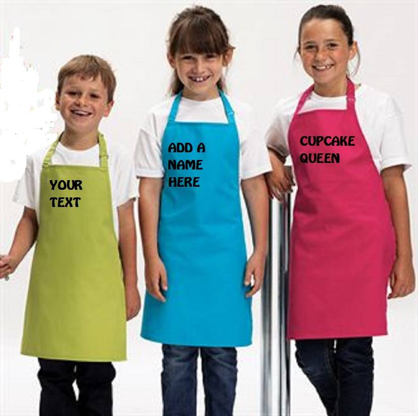 KIDS-BOYS-APRON-PERSONALISED-PRINTED-YOUR-TEXT-12-COLOURS-2-SIZES-FREE-P-P