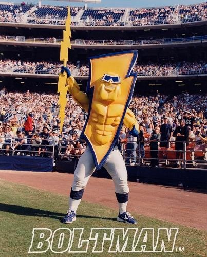 San Diego Chargers Costume: GENUINE ONE OF A KIND SAN DIEGO CHARGERS BOLTMAN SUIT