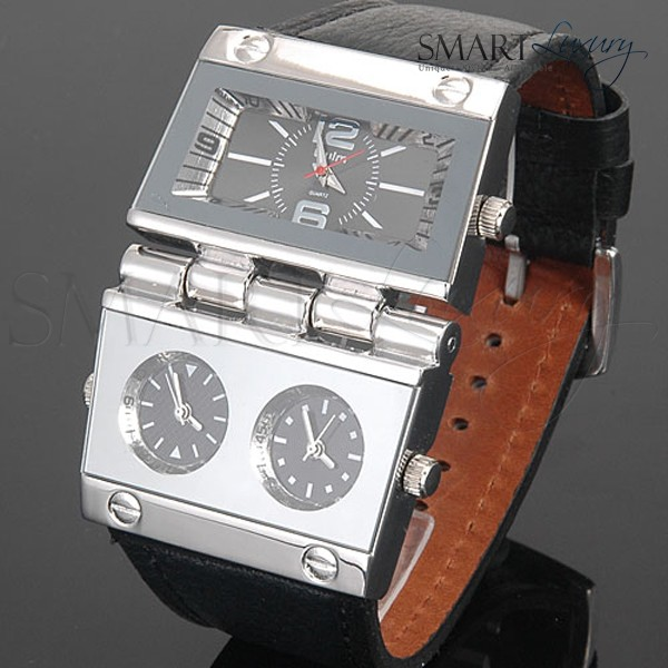 Big-XXL-Unique-Hinge-Casing-Russian-Military-Watch-3-Time-GMT-Real-Leather