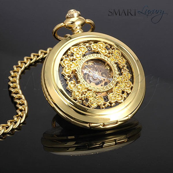 stunning ornate mechanical gold colour mens pocket