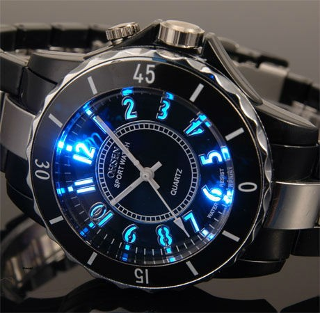 Mens-Stylish-Black-Carbon-Blue-LED-Backlit-Anolog-Sports-Watch-Stainless