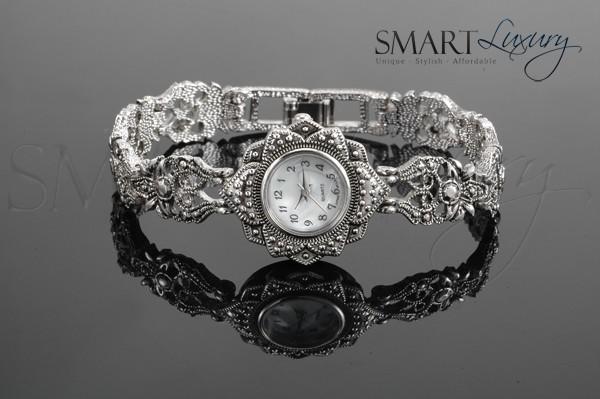 Luxury-Ladies-Ornate-Silver-Plated-Antique-Style-Vintage-Watch-Bracelet-Quartz