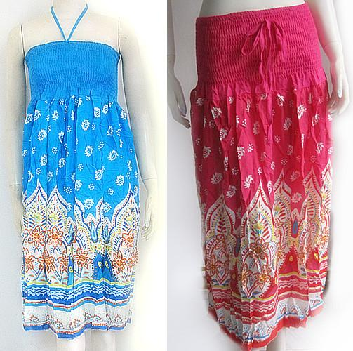 Summer Totem Pattern Tube Dress Long Elastic Tube Top Mini ... - photo#11