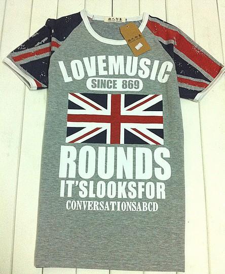 Fashion Men's England Flag Pattern Short Sleeve Casual T-shirt Korean Style