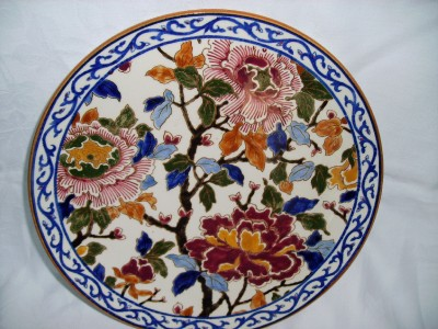 antique french faience gien pivoines hand painted majolica plate charger ebay. Black Bedroom Furniture Sets. Home Design Ideas