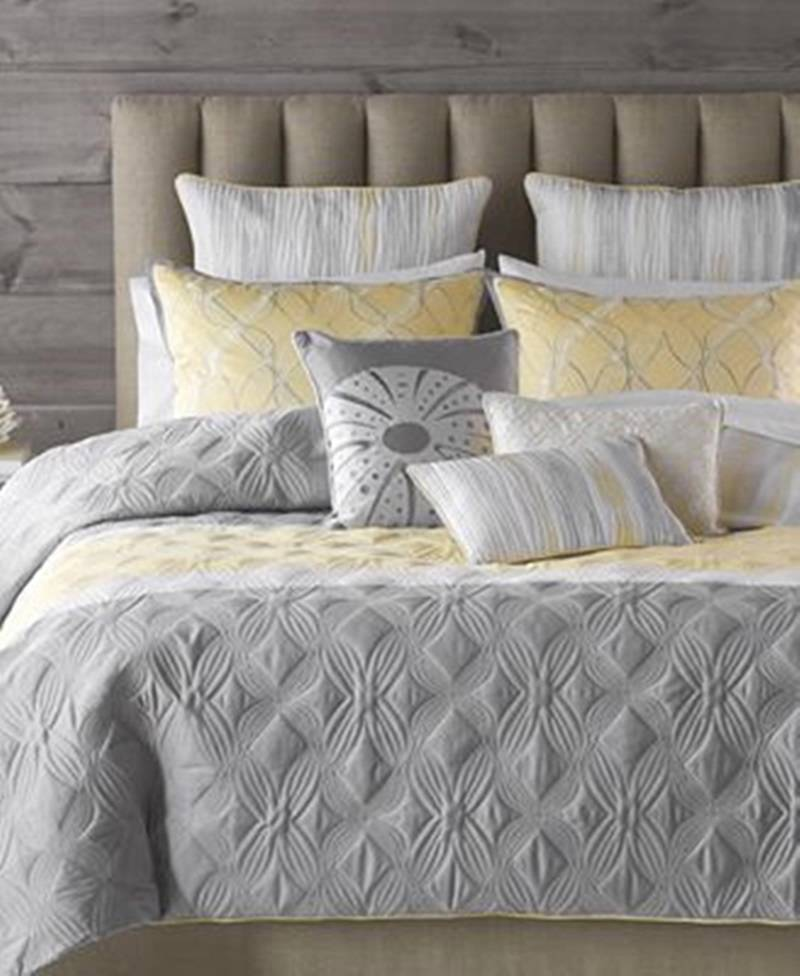 King Comforter Set Yellow Ebay 8 Gray Yellow White
