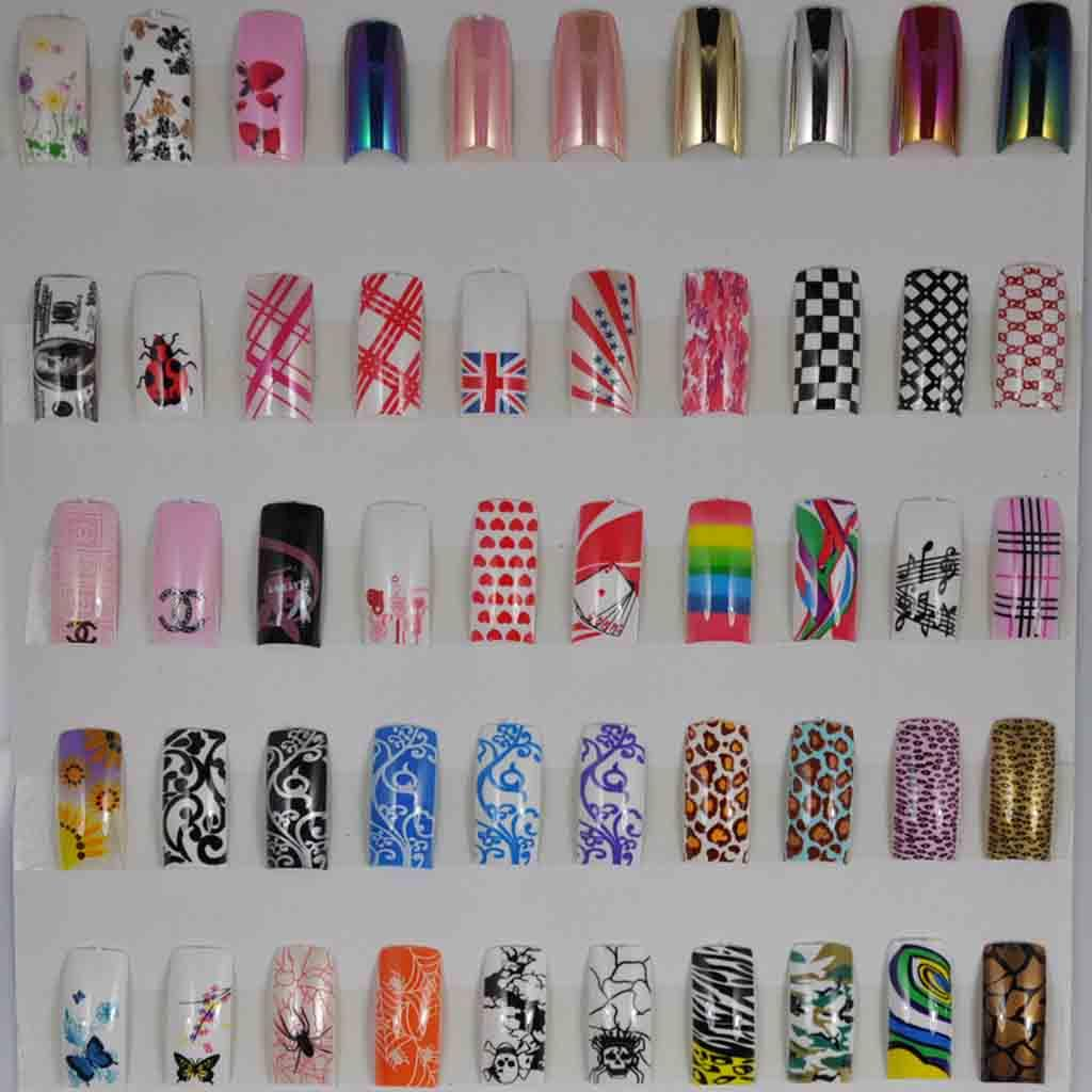 Different Art Designs : Different stunning designs acrylic french false nail