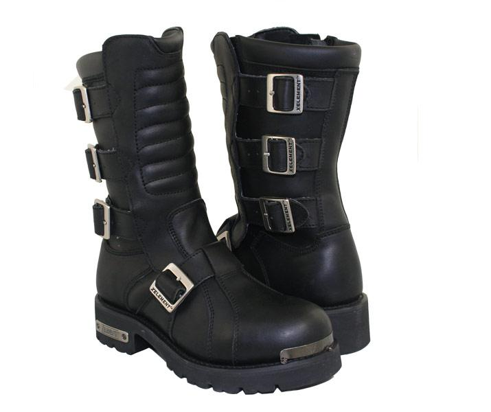 xelement black leather executioner motorcycle boots size 8