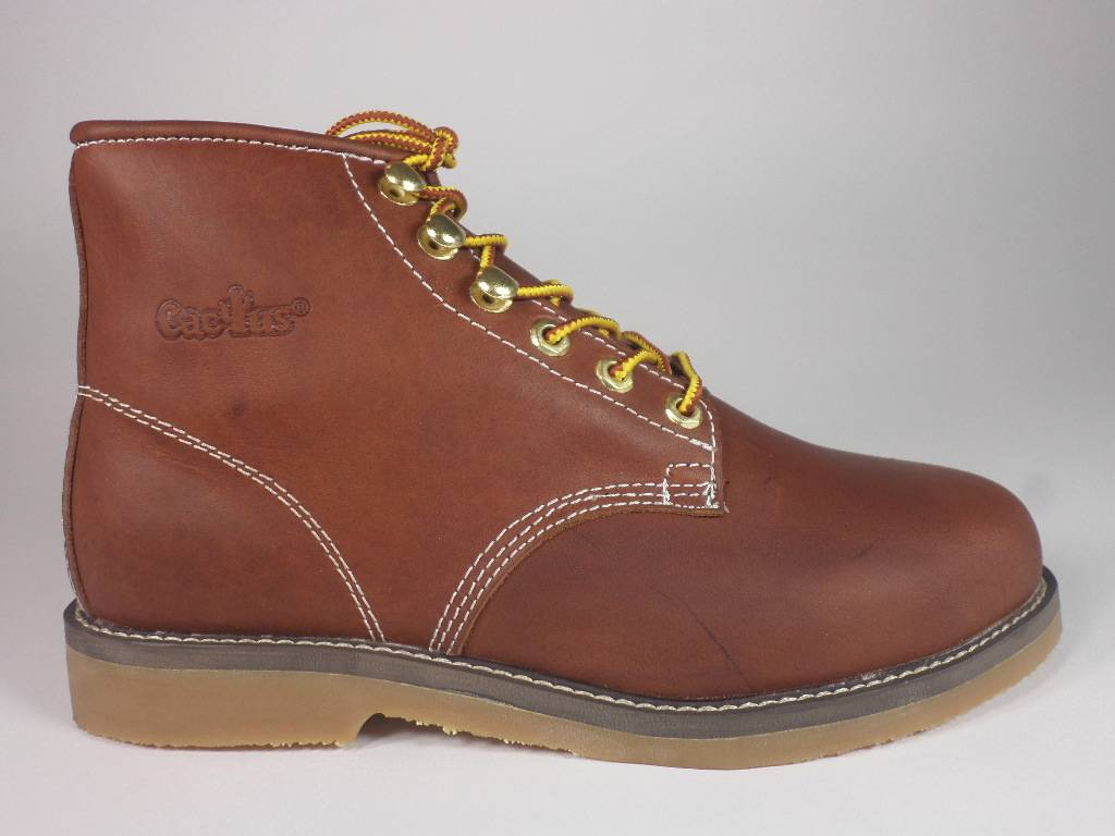 cactus work boots 6800 brown real leather flat sole