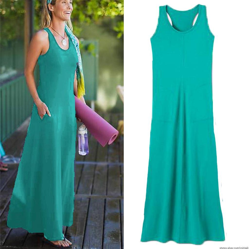 NWOT ATHLETA Solid Tee Tank Maxi Dress Authentic XS/S/M/L/XL ...