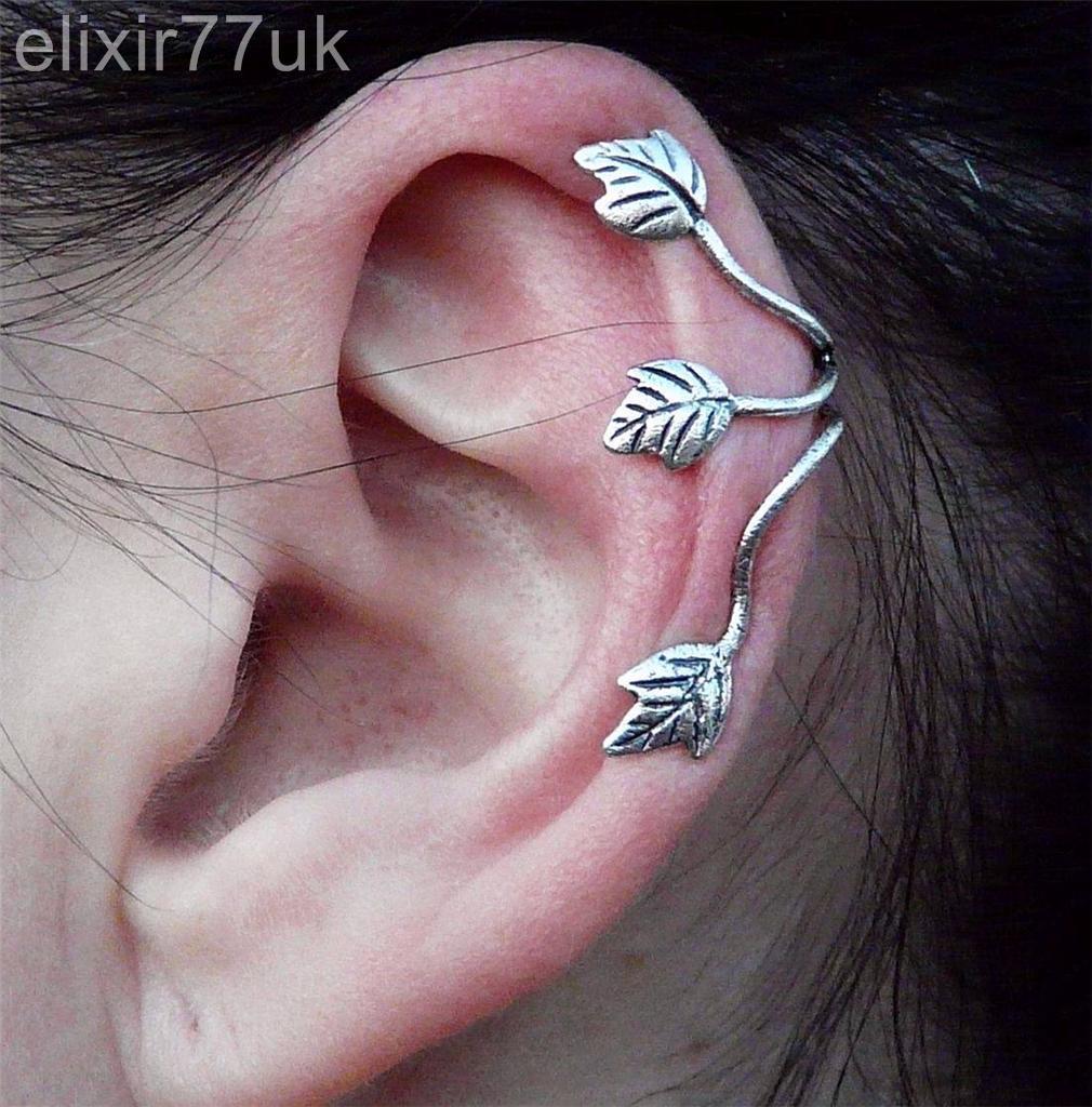 Elixir77UK Silver Colour Triple Leaf Ear Cuff Clip On Wrap Cartilage Upper Helix Non Pierced Earring UK SELLER BBQjn4z3I