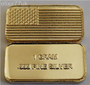 1 Gram Pure 999 Fine Solid Silver 24k Gold American Flag