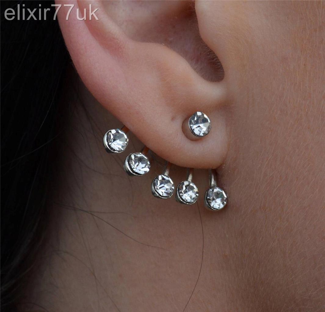 new silver flower diamante ear cuff