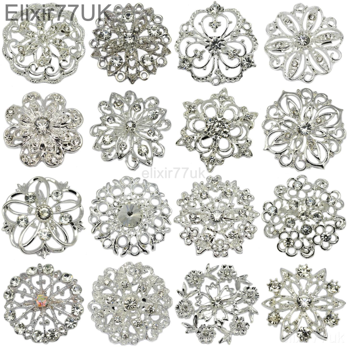 5-100 SILVER CRYSTAL BROOCH JOBLOT BRIDAL WEDDING BOUQUET WHOLESALE LOT DIY UK