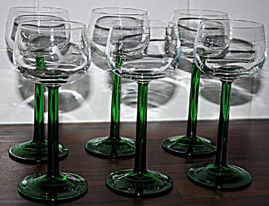 6 stunning retro french luminarc green thick stem wine glasses ebay - Wine glasses with thick stems ...