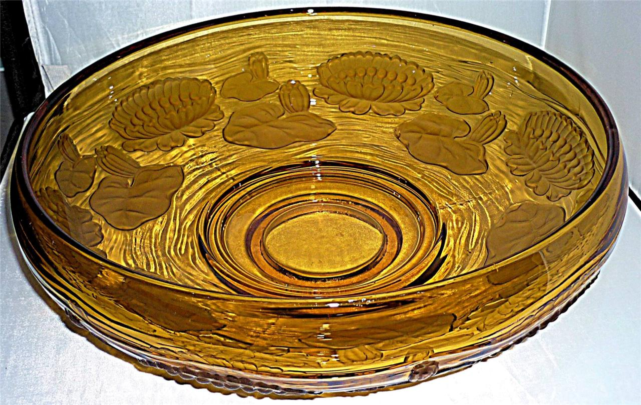 STUNNING-HEAVY-EXTRA-LARGE-ART-DECO-AMBER-BROWN-LILY-GLASS-CENTREPIECE-BOWL-32cm