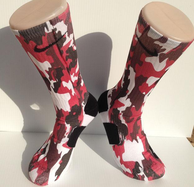 custom red camo nike elite socks