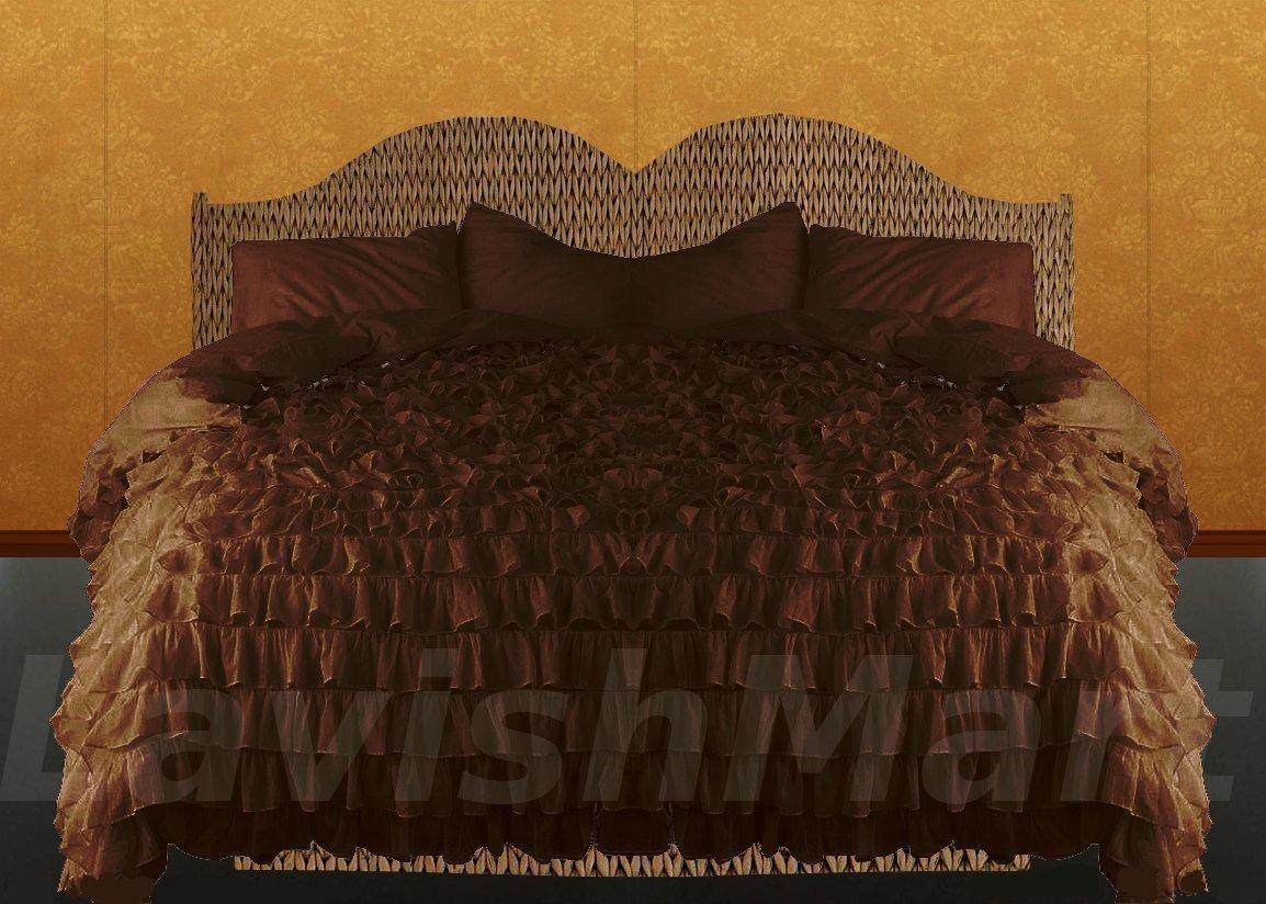 1200tc ruffled duvet cover set 3pc royal egyptian cotton king cal king size ebay. Black Bedroom Furniture Sets. Home Design Ideas