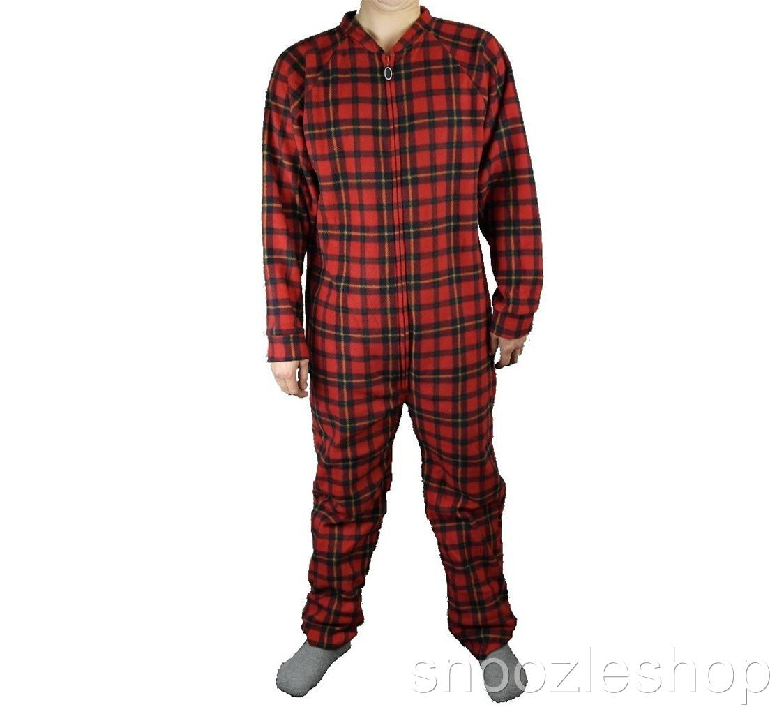 Tartan Plaid Thermal-Top Men's Pajamas - full-length pants made of yarn-dyed, double-brushed flannel in the classic Tartan plaid paired with a red thermal top. Elastic, drawstring waist and button fly.