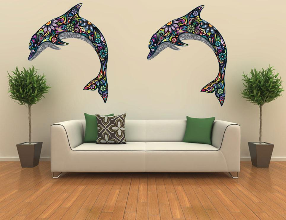 Dolphin Outdoor Wall Decor : Two dolphin wall paper decals sticker decor vinyl