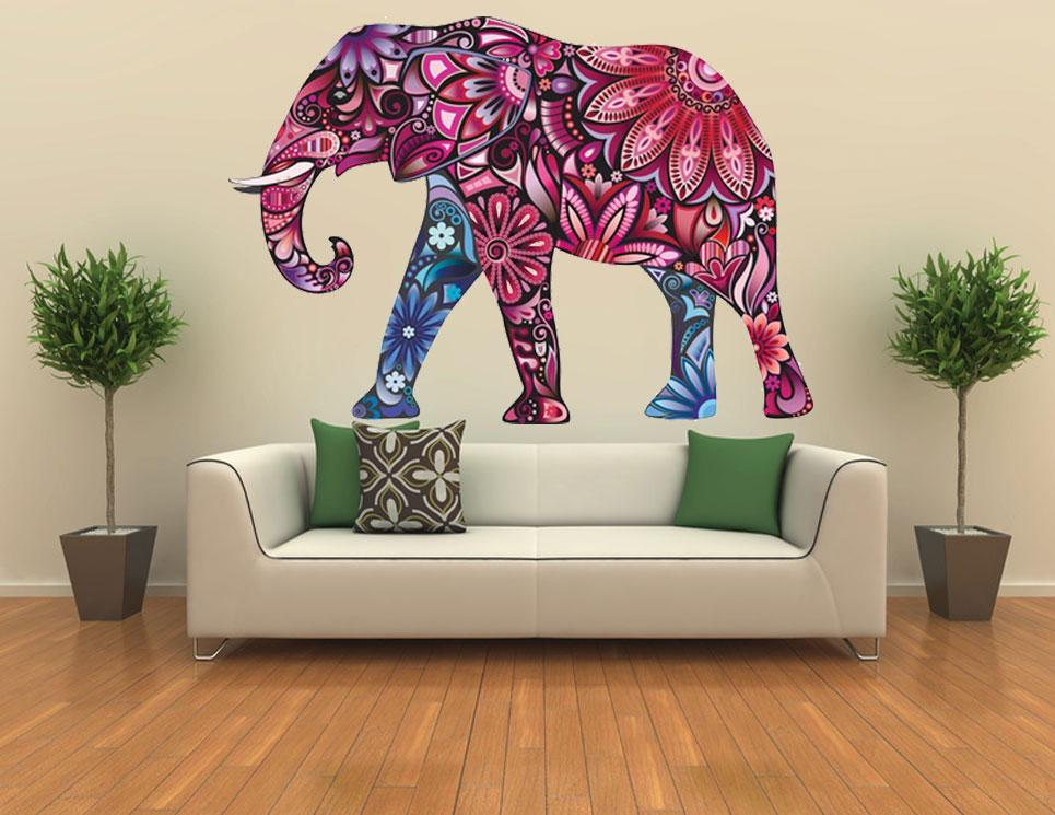 Elephant safari wall sticker vinyl art animal removable for Animal wall mural