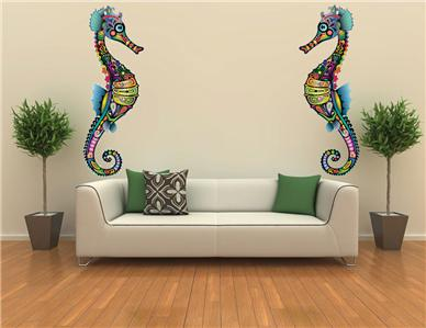 Xxl sea horse ocean decor mural wall art bathroom decor for Decor mural xxl