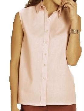 Women 39 s plus size sleeveless button down oxford shirt ebay for Sleeveless cotton button down shirts