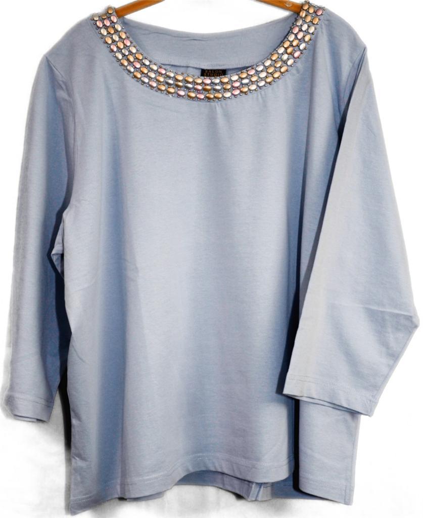 Women 39 s plus size 3 4 sleeve crew neck shirt w pastel bead for Plus size 3 4 sleeve tee shirts