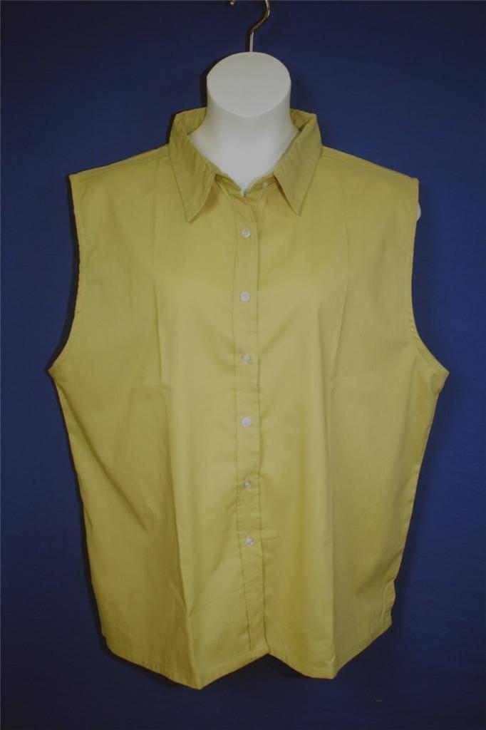 Women 39 S Plus Size Sleeveless Button Down Oxford Shirt Ebay