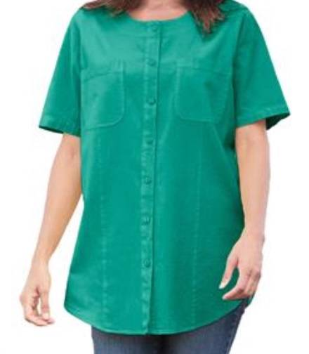 women 39 s plus size crinkle cotton button down crew neck big
