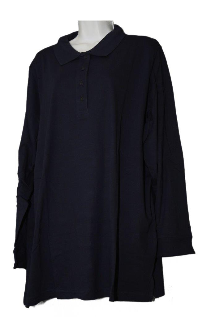 Women 39 S Plus Size Long Sleeve Polo Extra Long Tunic Shirt