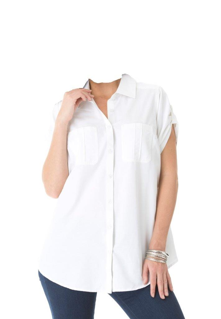 Women 39 S Plus Size White Button Down Short Sleeve Roll Tab