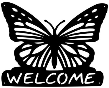 Steel Butterfly Welcome Sign Metal Wall Art Plaque Home