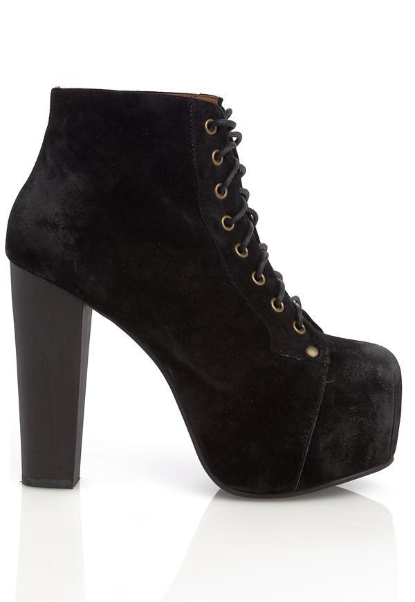 nib lita platform black suede ankle lace up bootie shoes jeffrey campbell like ebay. Black Bedroom Furniture Sets. Home Design Ideas