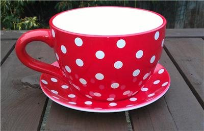 Giant Red Polka Dot Tea Cup And Saucer Planter