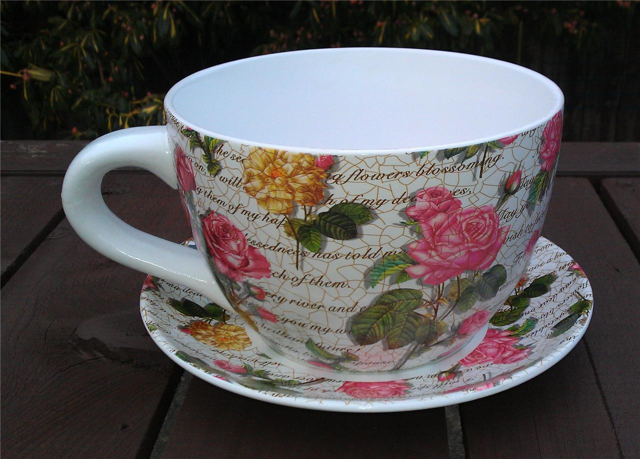 Giant Pink Rose Design Tea Cup And Saucer Planter Ebay