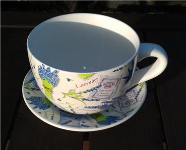 Giant Lavender Design Tea Cup And Saucer Planter Ebay