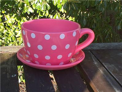 Giant Tea Cup And Saucer Planter Pink Coloured Polkadot Design Ebay