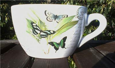 Giant Tea Cup And Saucer Planter Coloured Butterfly Design Ebay