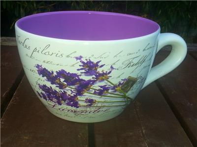 Giant Tea Cup And Saucer Planter Purple Lavender Design Ebay