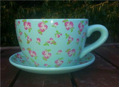Blue Floral Pink Rose Design Giant Teacup And Saucer Garden Planter Ebay