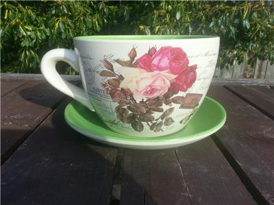 Giant Pink Rose Design Tea Cup And Saucer Planter