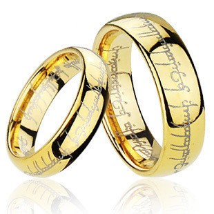 ... Engraved Gold Plated Tungsten Lord of the Rings Wedding Band Ring TR01