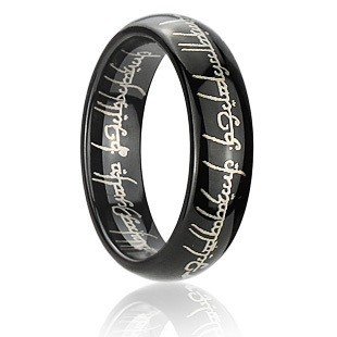 mens laser engraved blacktungsten lord of the rings wedding band ring - Lord Of The Rings Wedding Band