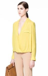 Zara Yellow Viscose Blouse 82
