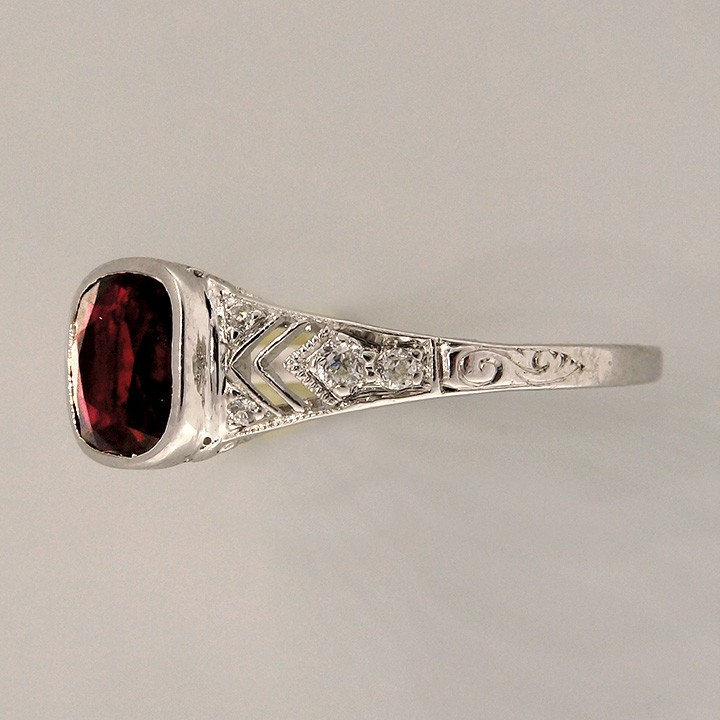 Antique Tiffany & Co Natural Ruby Engagement Ring 1 52ct Cushion Platinum