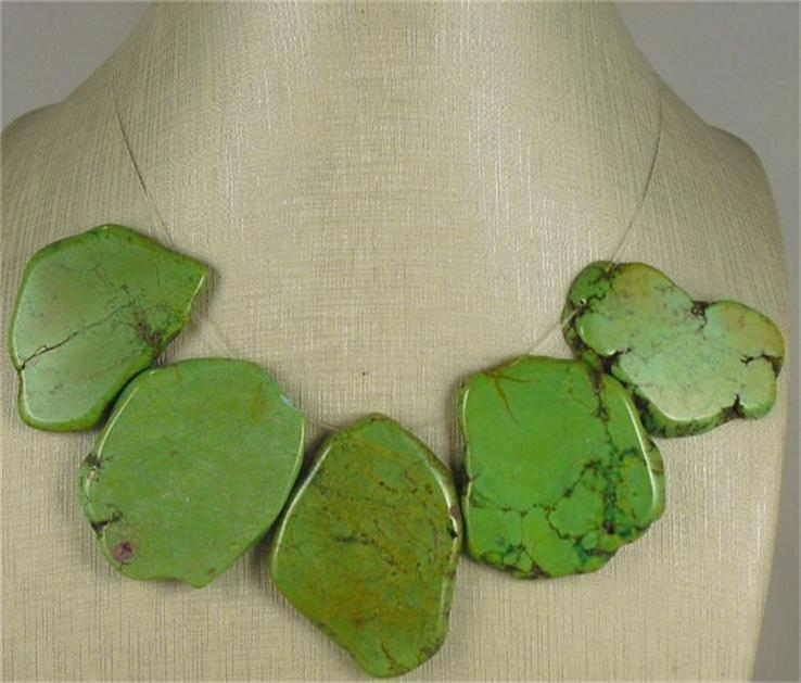 5  howlite stone slabs//green,red, turquoise,white color,30mm to 50mm