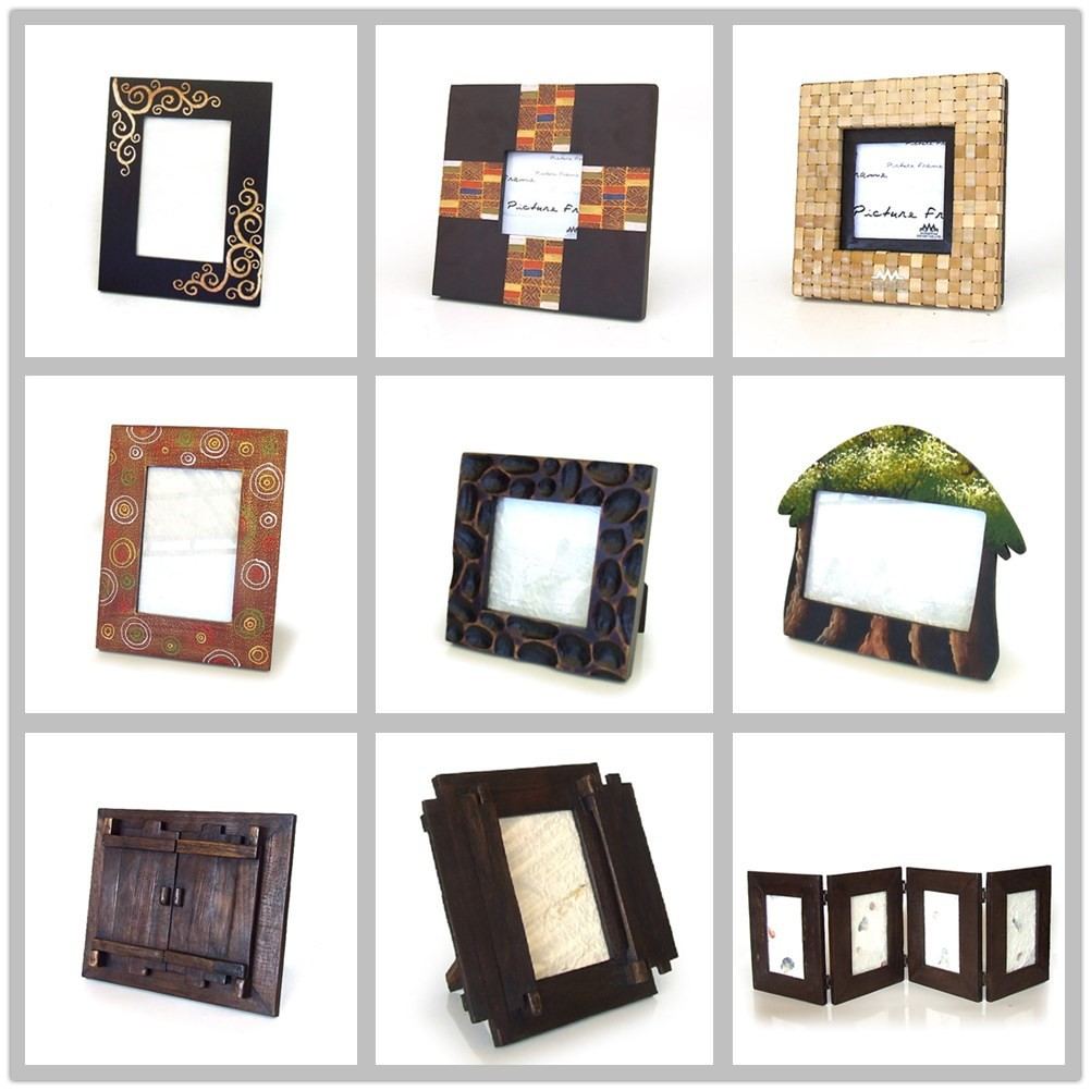 Unique thai style teak wood handmade wooden photo picture for Cool picture frame designs