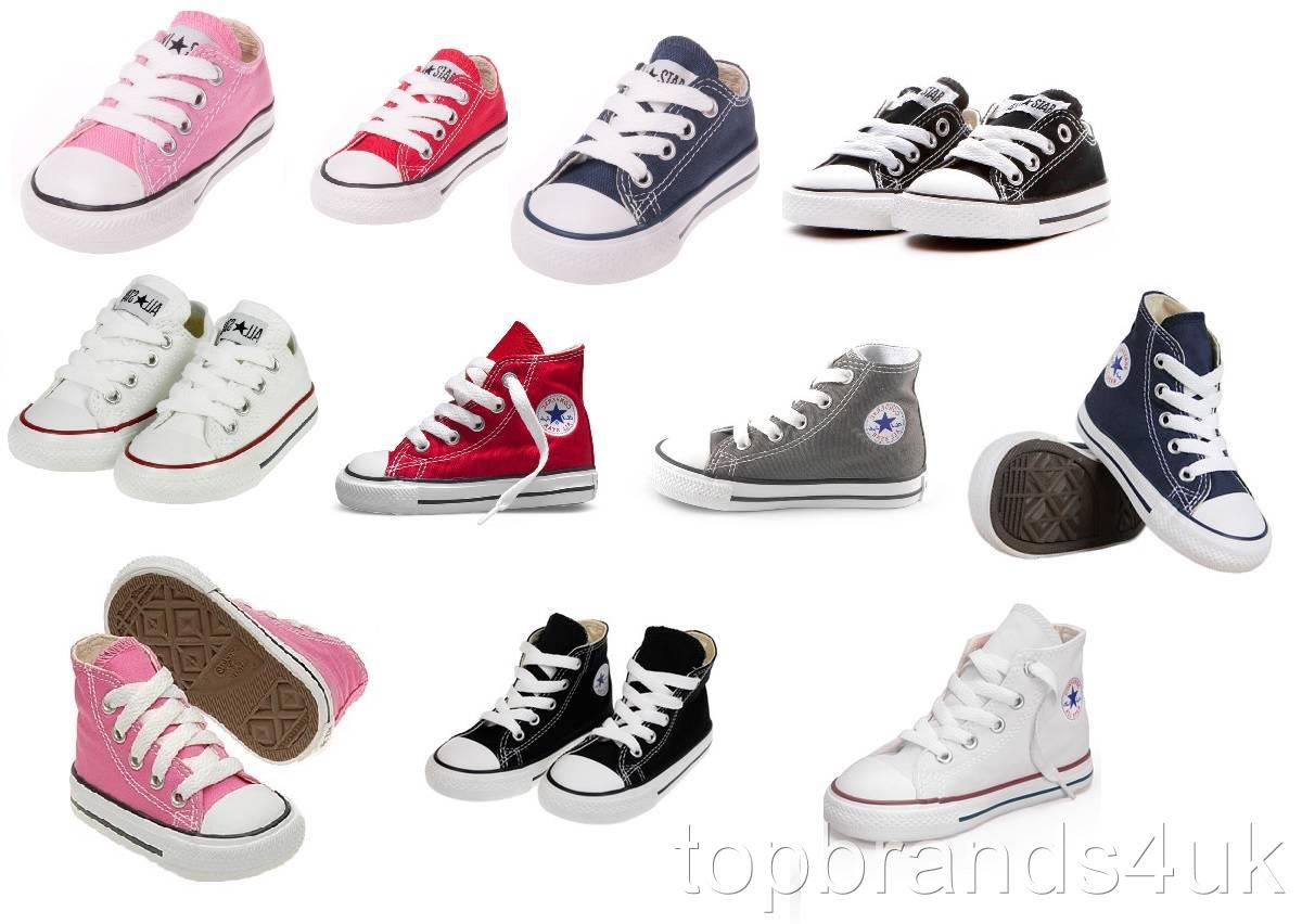 Converse-Chuck-Taylor-All-Star-HI-Tops-Lo-Canvas-Trainers-Kids-Infants-Toddlers