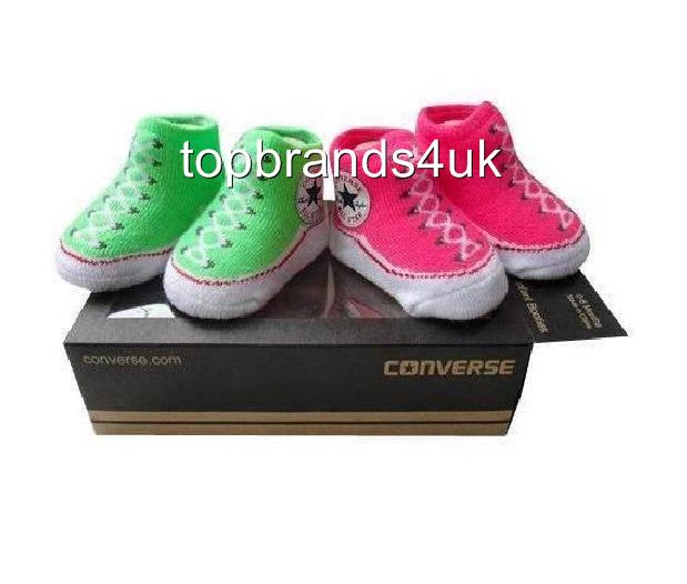 Converse Chuck Taylor Baby Socks booties Pink Green